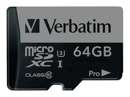 Verbatim 64GB Pro 600X UHS-I U3 microSDXC Memory Card with Adapter, Class 10, 47042, 31363517, Memory - Flash
