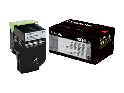 Lexmark 700H1 Black High Yield Toner Cartridge, 70C0H10
