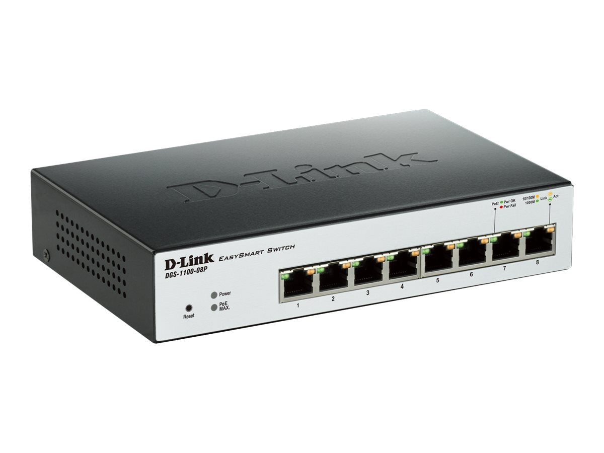 D-Link EasySmart 8-Port Gigabit PoE Switch, DGS-1100-08P, 15678017, Network Switches