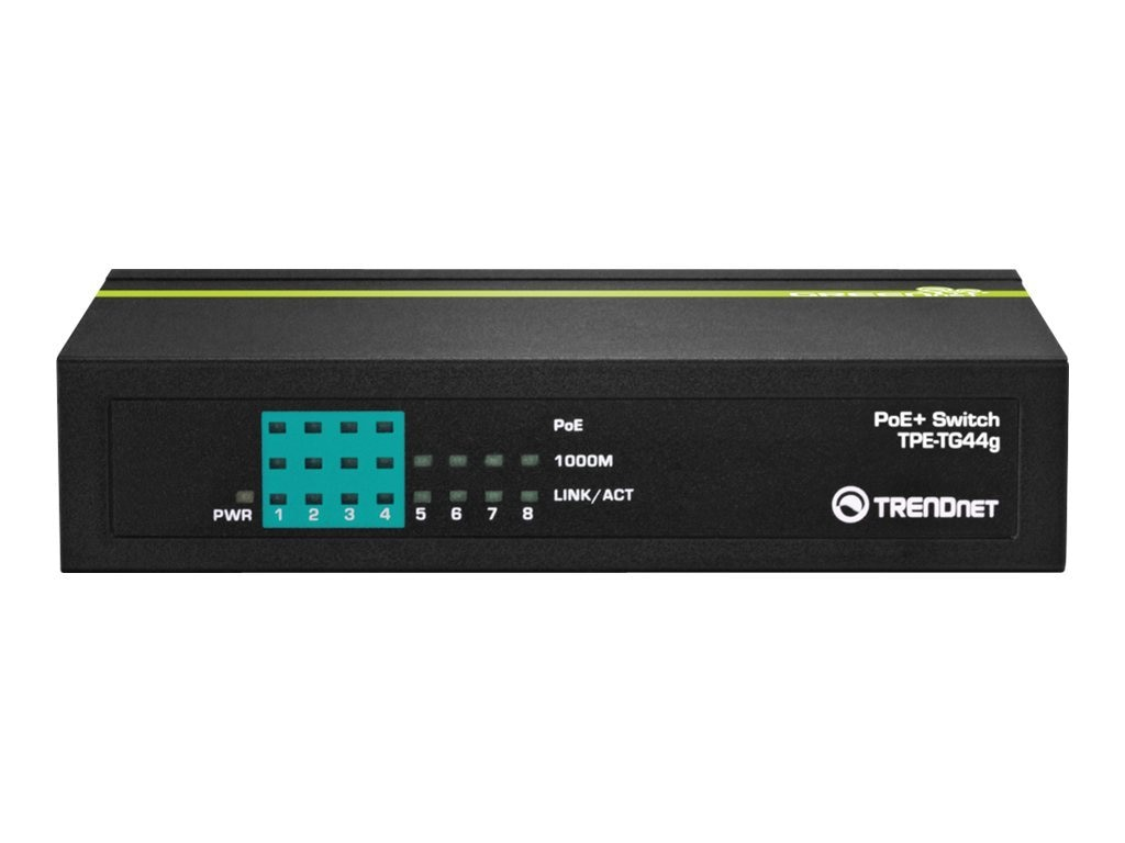 TRENDnet 8-Port Gigabit GREENnet PoE+ Switch, TPE-TG44g, 14620542, Network Switches