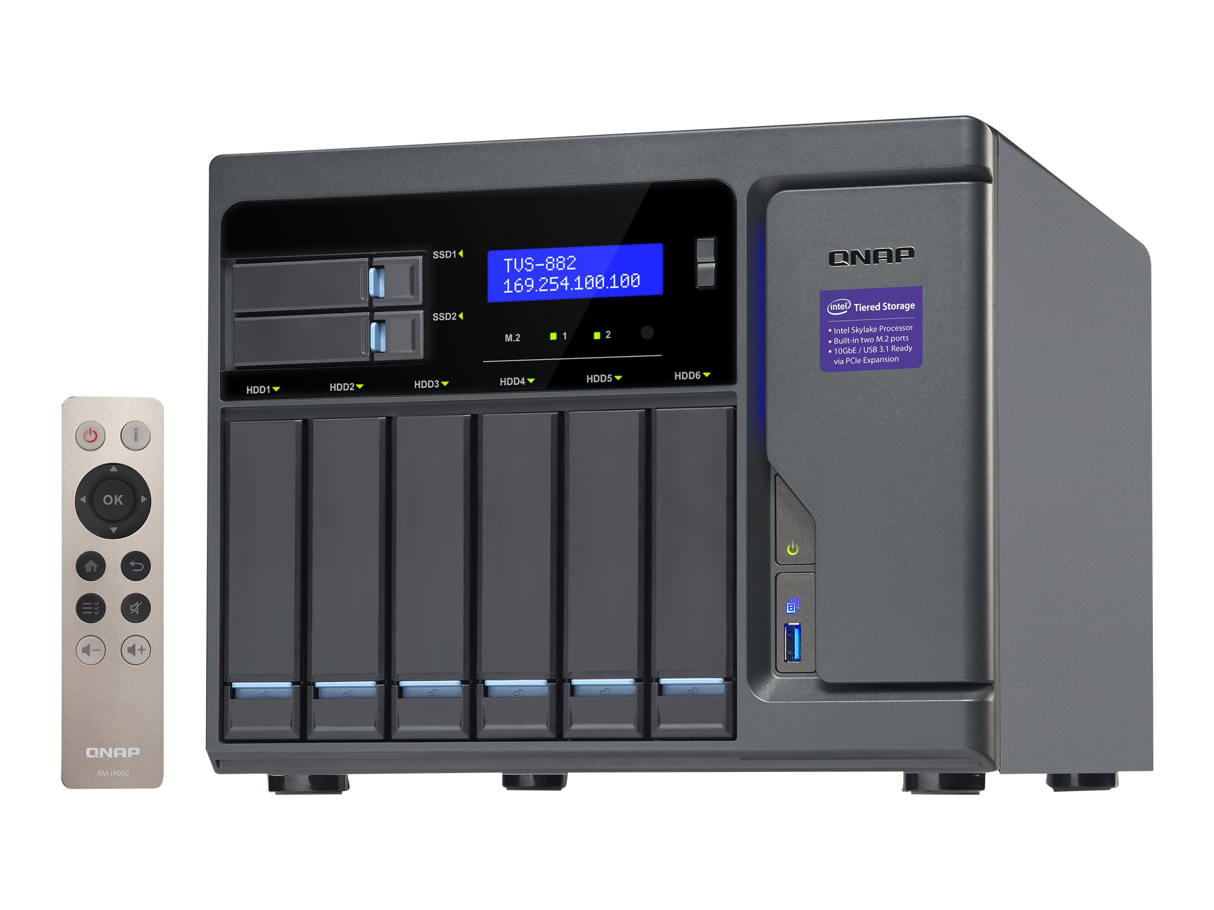 Qnap High Performance 8-Bay 6+2 NAS iSCSI IP-SAN w  Intel Skylake, TVS-882-I3-8G-US