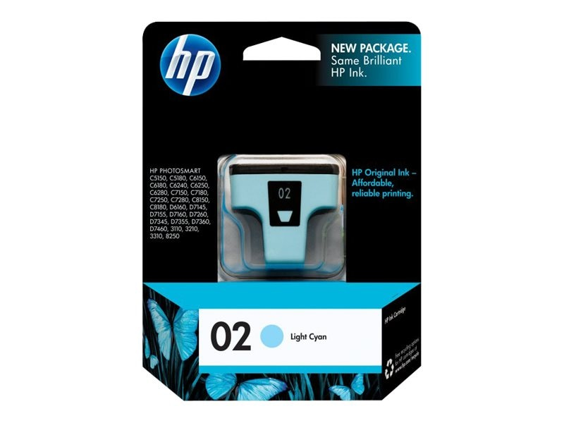 HP 02 (C8774WN) Light Cyan Original Ink Cartridge, C8774WN#140, 7885446, Ink Cartridges & Ink Refill Kits