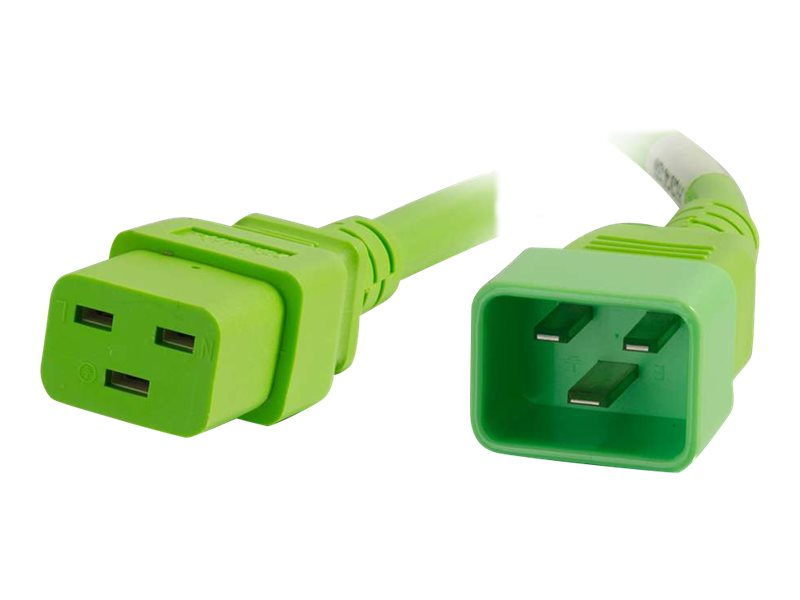 C2G Power Cord C20 to C19 12 3 SJT, Green, 6ft