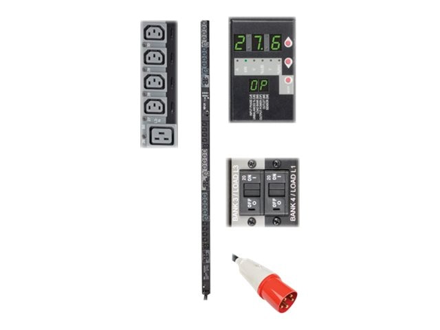 Tripp Lite Switched PDU 27.6kW 400V 3-Ph 230V Output 0U IEC309 63A Red (3P+N+E) (24) C13 (6) C19 Outlets, PDU3XVSR6G63B, 17455909, Power Distribution Units