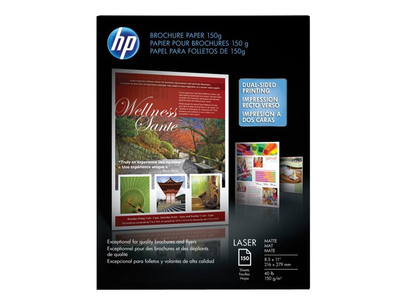HP 8.5 x 11 Matte Brochure Laser Paper (150-sheets), Q6543A, 5563970, Paper, Labels & Other Print Media