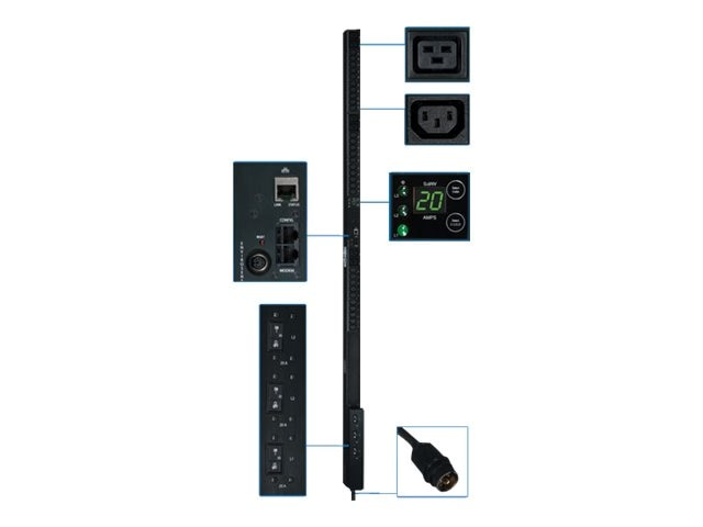Tripp Lite PDU 3-Phase Monitored 208V 12.6kW Hubbell (30) C13 (6) C19 0U RM, PDU3VN3H50, 12428303, Power Distribution Units