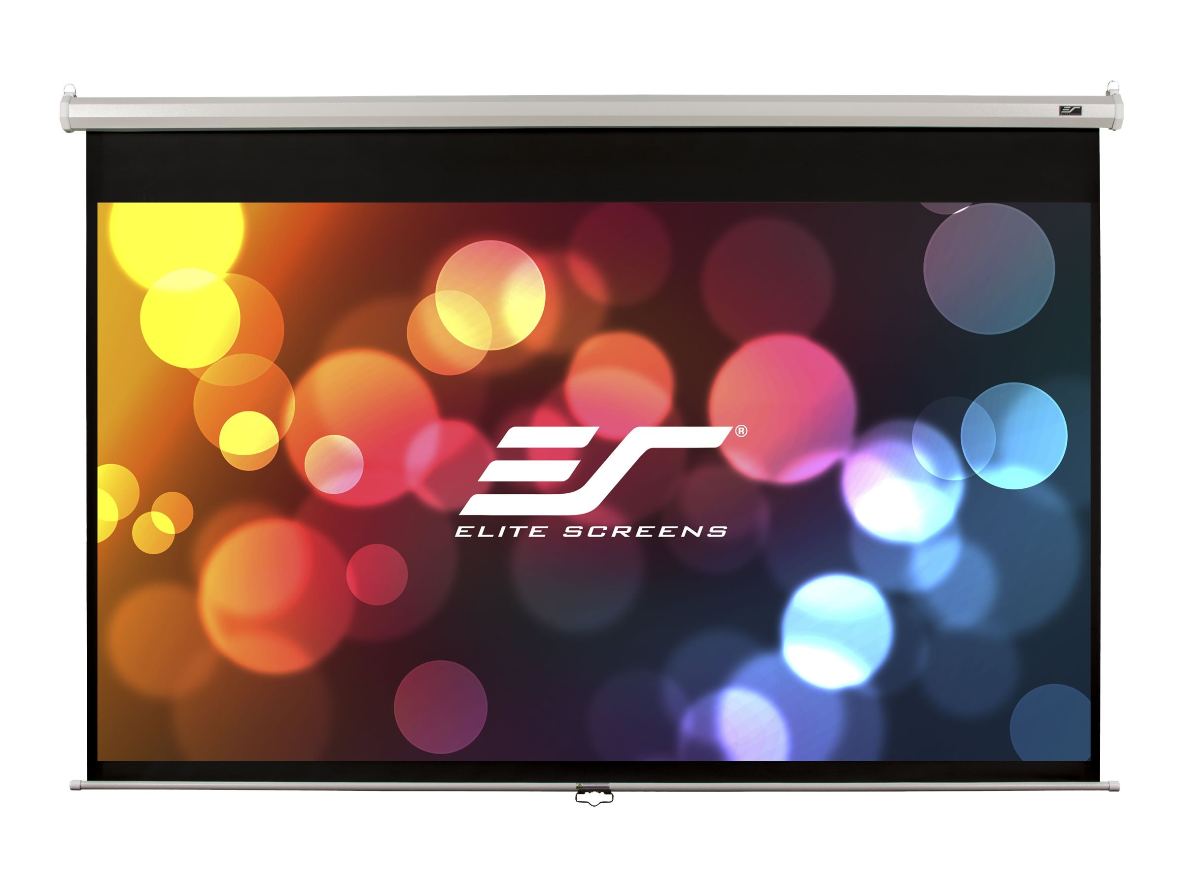 Elite Manual Series Matte White Projection Screen, White Case, 1:1, 113in