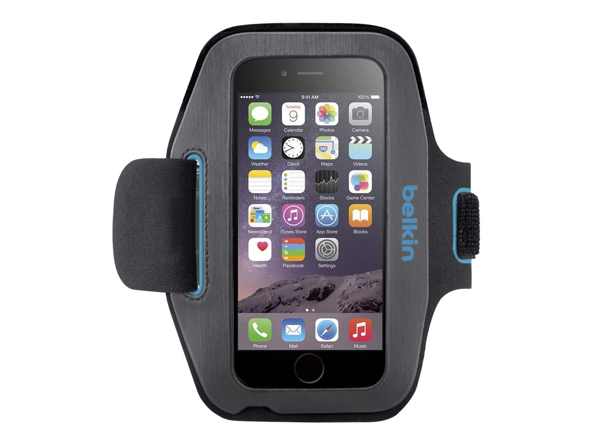 Belkin Sport-Fit Armband for iPhone 6, Blacktop Topaz, F8W500BTC03, 18843022, Carrying Cases - Phones/PDAs