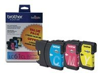 Brother Cyan, Magenta & Yellow LC61 Innobella Ink Cartridges (3-pack), LC613PKS, 8688891, Ink Cartridges & Ink Refill Kits