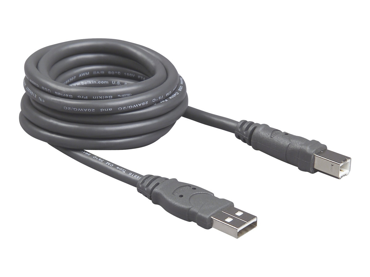 Belkin Pro Series USB 2.0 Cable, A to B, Gray, 10ft, Bag and Label