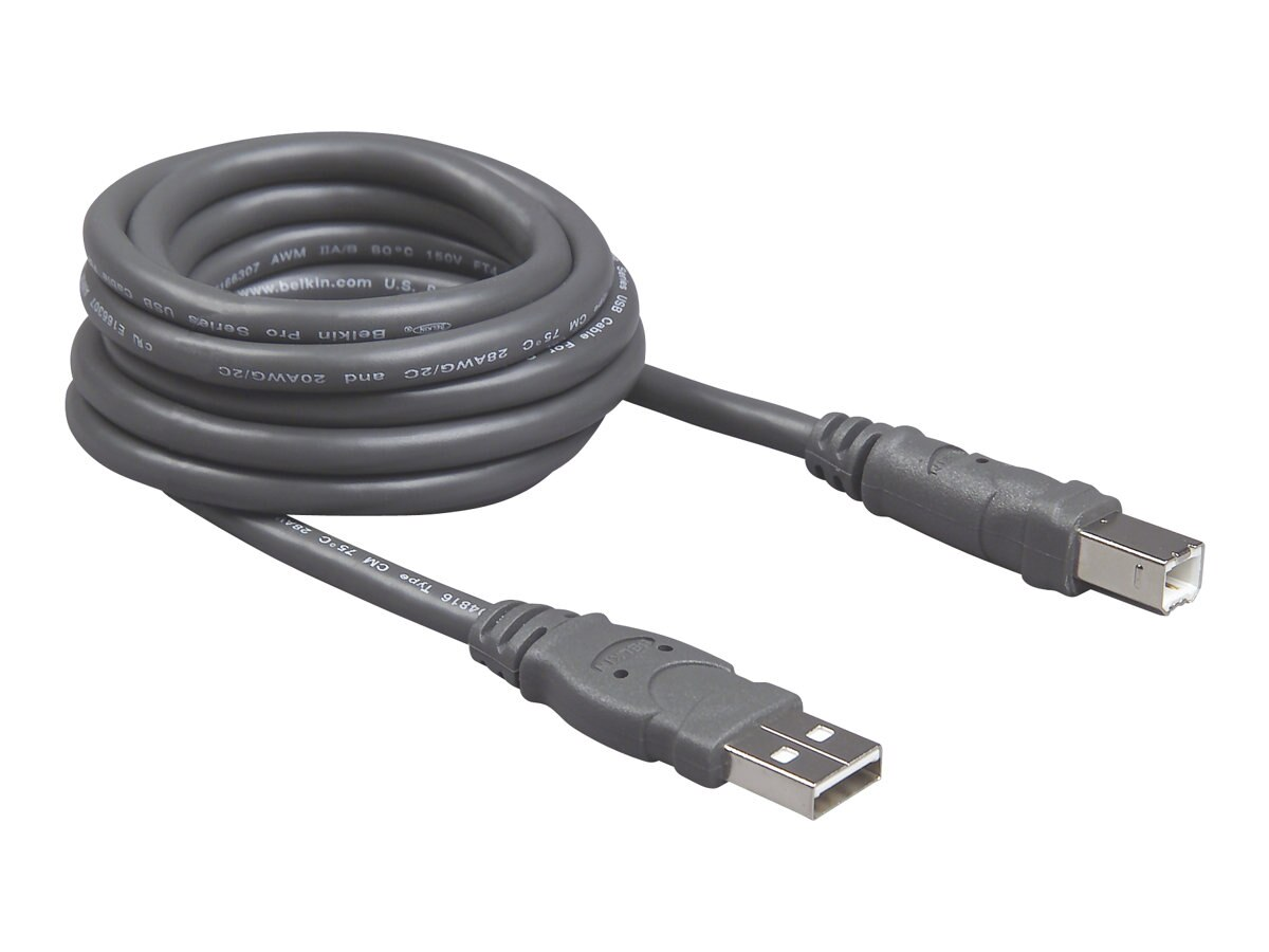 Belkin Pro Series USB 2.0 Cable, A to B, Gray, 10ft, Bag and Label, F3U133B10, 6000950, Cables