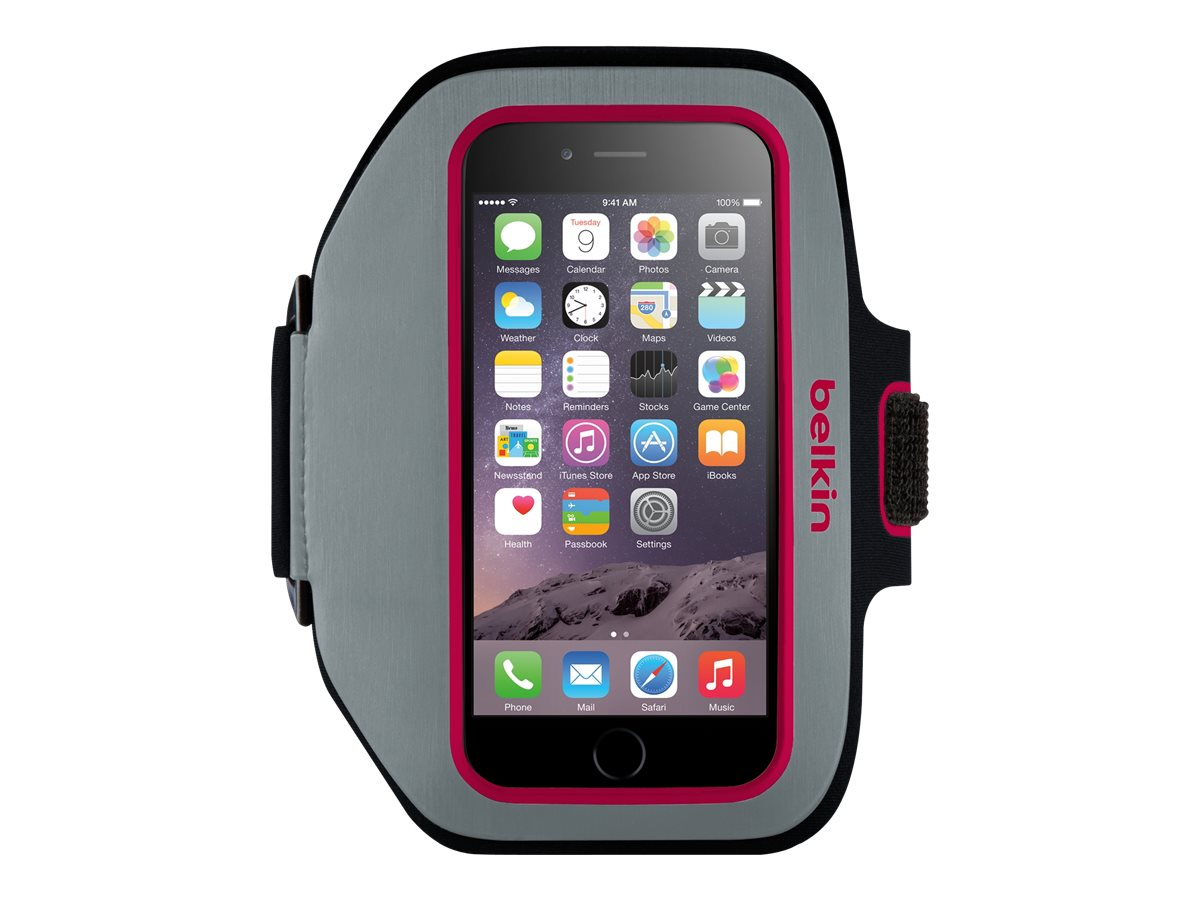 Belkin Sport-Fit Plus Armband for iPhone 6, Sidewalk Fuchsia, F8W501-C01, 17869896, Carrying Cases - Phones/PDAs