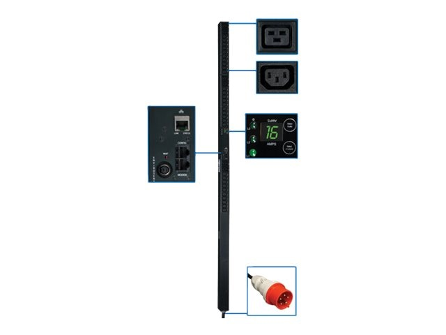 Tripp Lite Monitored PDU 11kW 380 400V Input, 220 230V 3-ph, 0U, IEC-309 16A Red, 10ft Cord, (30) C13 (6) C19, PDU3XVN10G16