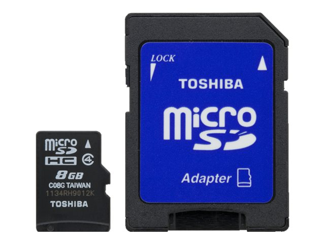 Toshiba 8GB MicroSDHC Flash Memory Card, Class 4 with MicroSD Adapter