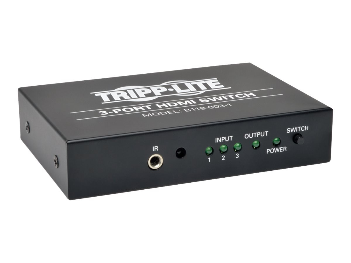 Tripp Lite 3-Port High Speed HDMI Switch for Video and Audio with Remote, B119-003-1