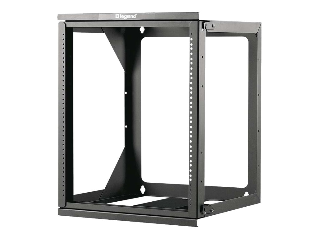C2G Hinged Wall Mount Open Frame Rack, 12U x 18d, 75lb Capacity, Black