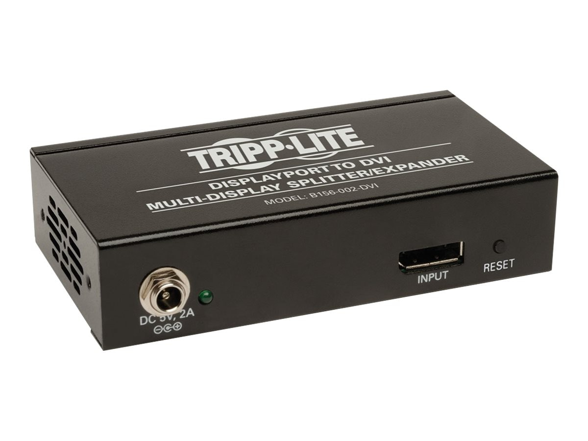 Tripp Lite 2-Port DisplayPort to DVI Splitter, Multi-display Adapter, TAA, GSA, B156-002-DVI