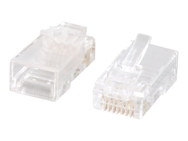 C2G RJ45 Cat5e Modular Plug For Round Solid Stranded Cable 50-Pack, 27574