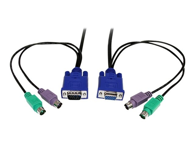 StarTech.com Ultra-Thin 3-in-1 KVM Cable, PS 2, 15ft (PS23N1THIN15), PS23N1THIN15, 421702, Cables