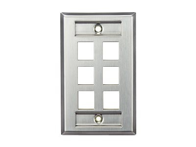 Leviton Stainless Steel QuickPort Wallplate, Single Gang, 6-Port, with Designation Windows, 43080-1L6