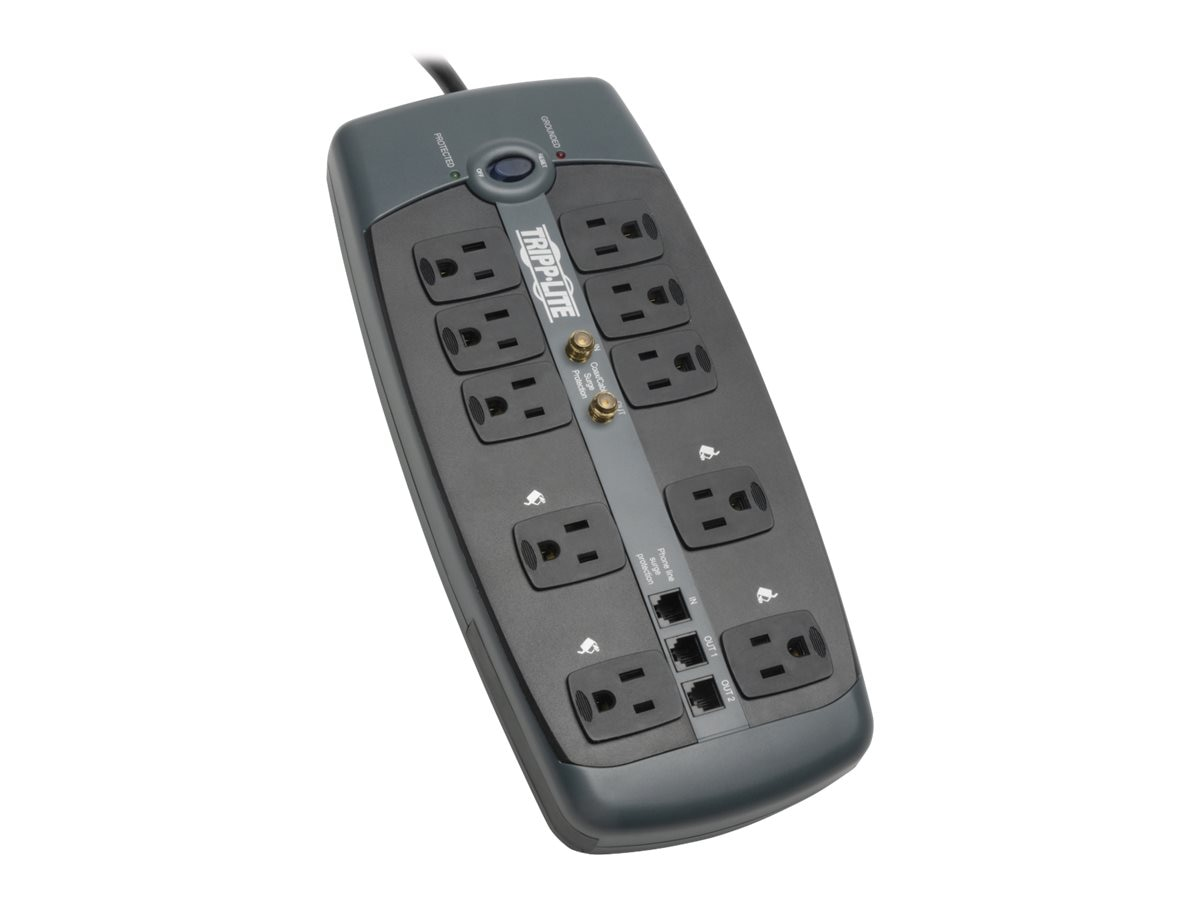 Tripp Lite Protect It! Surge (10) Outlet (7 Transformers) 8ft Cord 3345 Joules, TLP1008TELTV