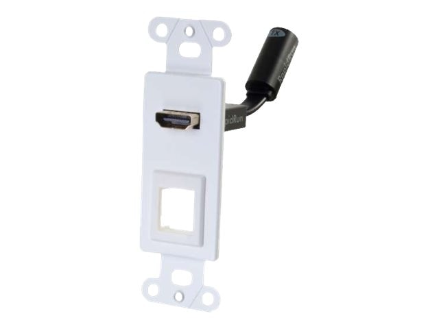 C2G RapidRun HDMI Decora Style Wall Plate Transmitter with One Keystone, White, 60151, 17771354, Premise Wiring Equipment
