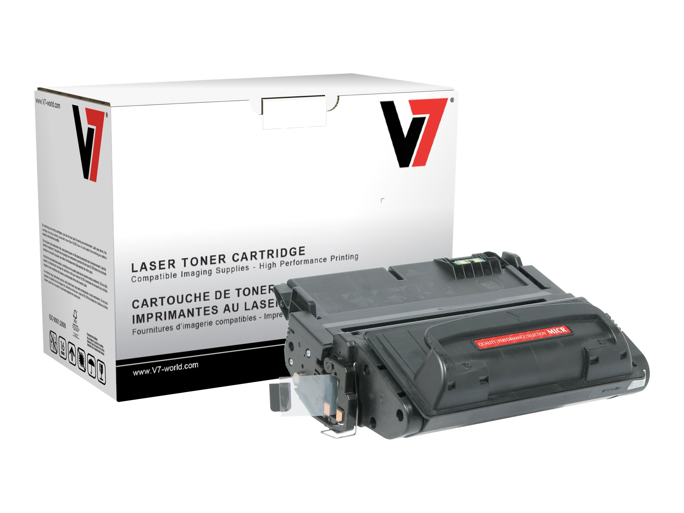 V7 Q5942A MICR Black Toner Cartridge for HP LaserJet 4240 (TAA Compliant), THK25942AM