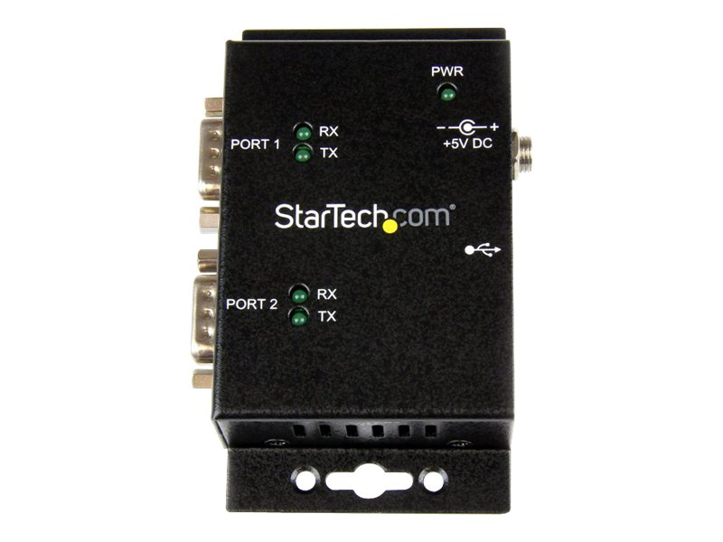 StarTech.com 2-Port Wall Mount USB 2.0 to Serial Adapter Hub with DIN Rail Clips
