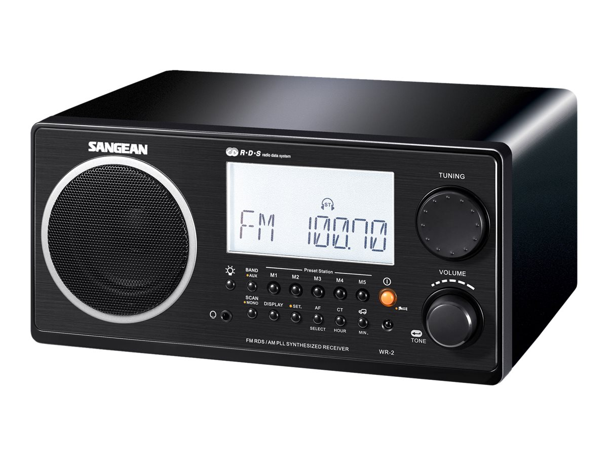 Sangean Digital AM FM Table Top Radio, Black, WR-2 BLACK, 10036761, Clock Radios
