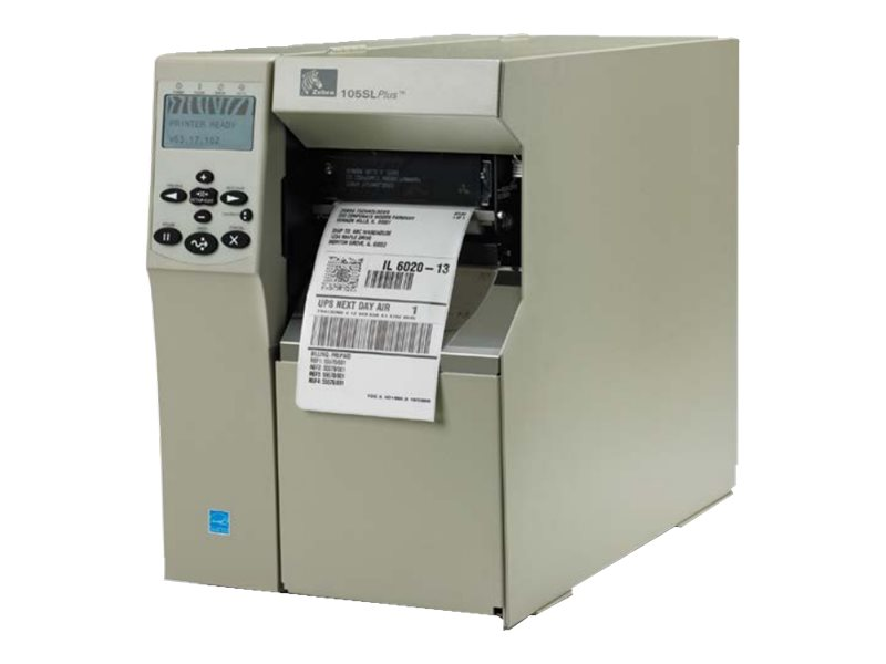Zebra 105SLPlus TT 300dpi Serial Parallel USB Ethernet Printer w  Cutter, Catch Tray & US Power Supply, 103-801-00100, 15632019, Printers - Bar Code