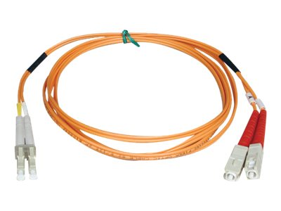 Tripp Lite Fiber Optic Cable, LC-SC, 50 125um, Duplex Multimode, 1m, N516-01M, 454645, Cables