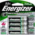 Energizer Battery, NiMH Rechargeable AA 2450mAh (4-pack)
