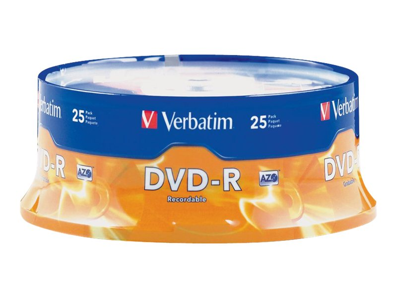 Verbatim 16x 4.7GB DVD-R Media, 25-pack, 95058, 5639891, DVD Media