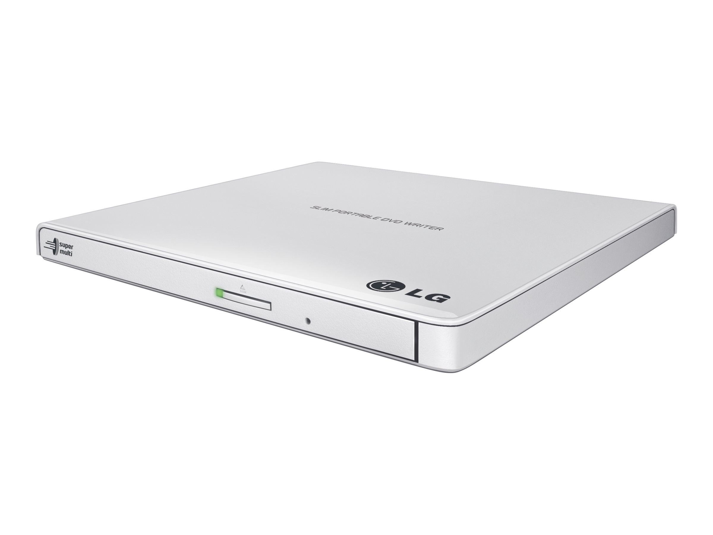 LG Ultra-Slim Portable DVD Burner & Drive w  M-DISC Support - White, GP65NW60