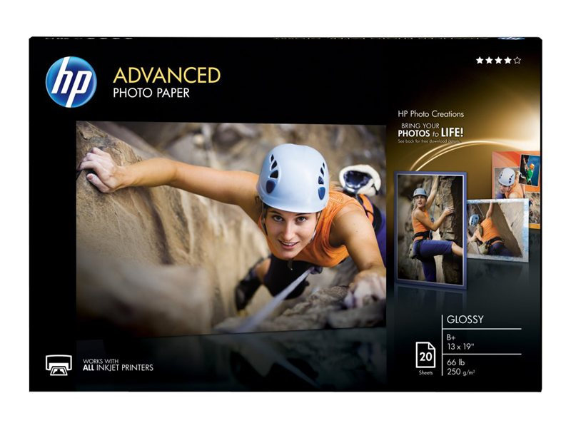 HP 13 x 19 Advanced Glossy Photo Paper (20-Sheets), CR696A, 12618191, Paper, Labels & Other Print Media