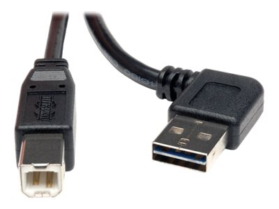 Tripp Lite Universal Reversible USB 2.0 Right Angle A-Male to B-Male Device Cable, 6ft, UR022-006-RA, 16176115, Cables