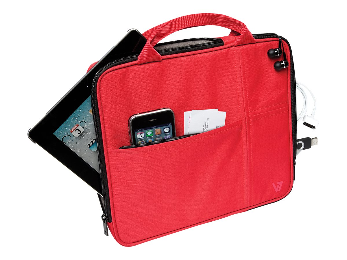 V7 Attache Slim Case for Tablet PC 9.7, iPad 1 2 3 4, iPad Air, Red, TA20RED-1N