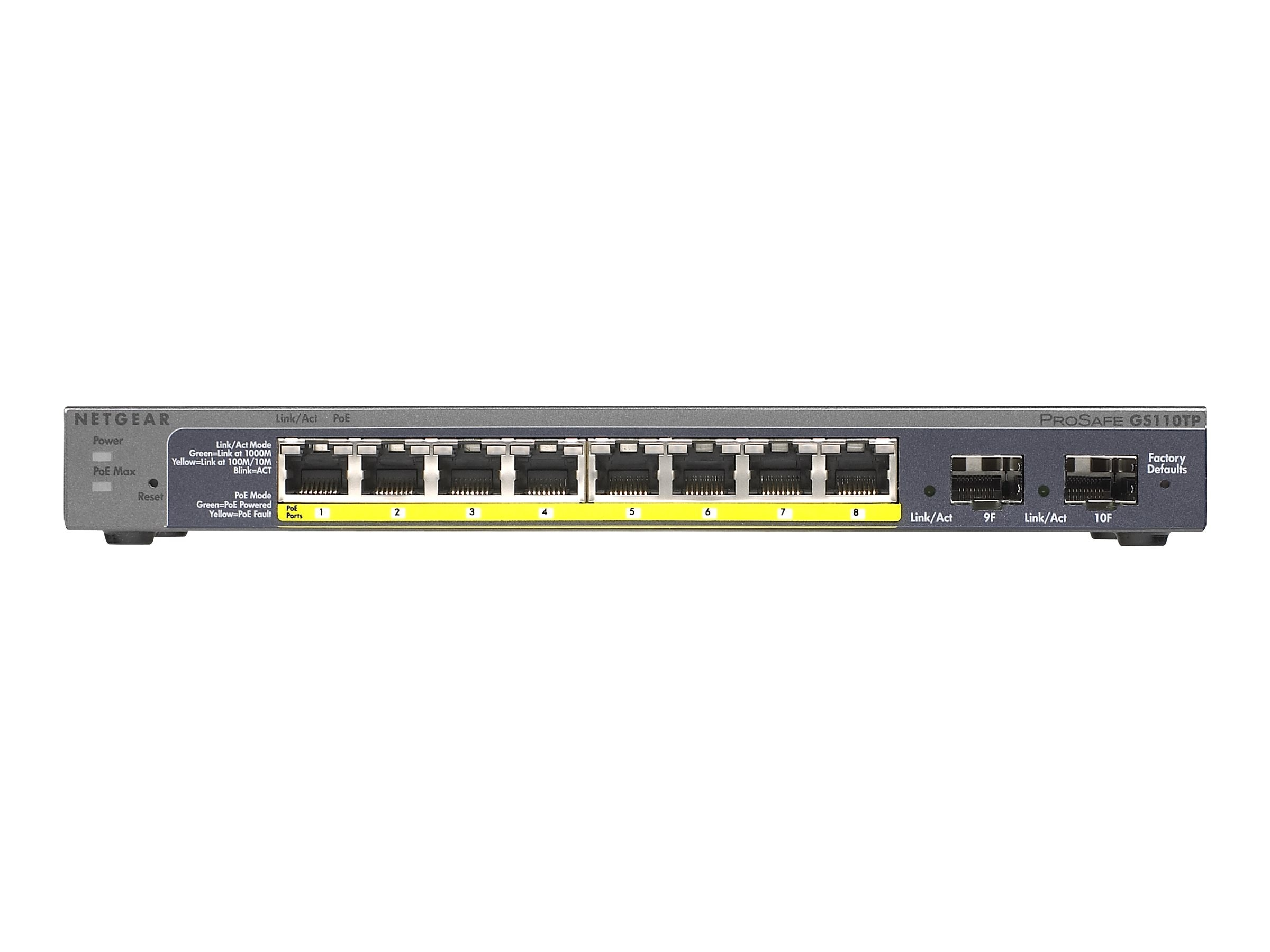 Netgear ProSafe 8-Port Gigabit PoE Smart Switch, GS110TP-200NAS, 17583548, Network Switches