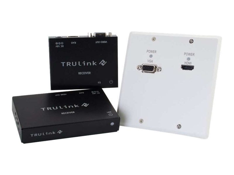 C2G TruLink HDMI + VGA over Cat5 Extender White Wall Plate Transmitter to Box Receivers Kit, 29213, 16912784, Video Extenders & Splitters