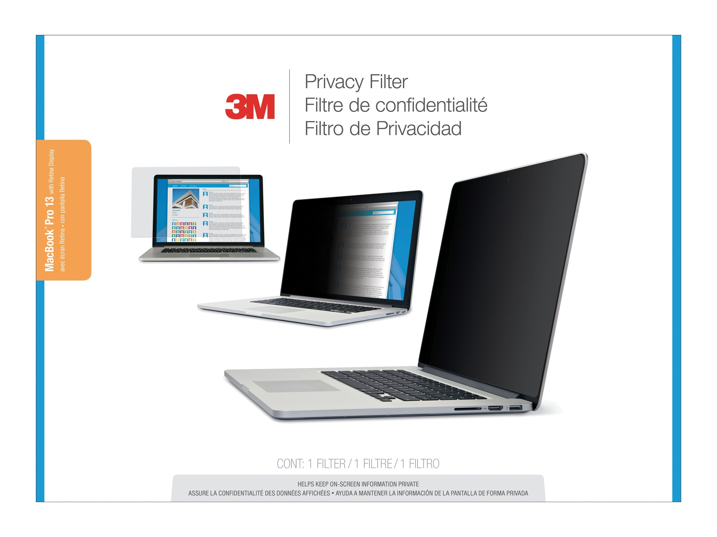 3M Privacy Filter for Apple MacBook Pro 13 with Retina Display, PFNAP004