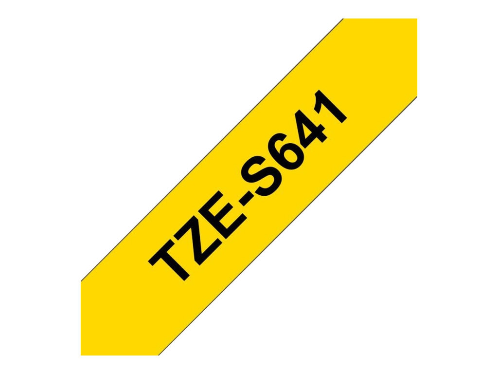 Brother 0.7 x 26.2' TZeS641 Black on Yellow Tape, TZE-S641, 12529462, Paper, Labels & Other Print Media