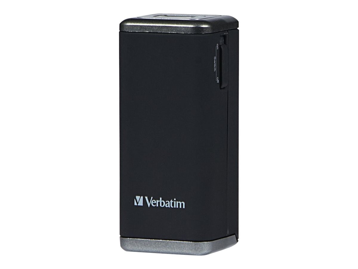 Verbatim AA Power Pack, USB Input, 5V 1000mA Output, micro-USB Cable (4 AA Batteries Sold Separately), 97928