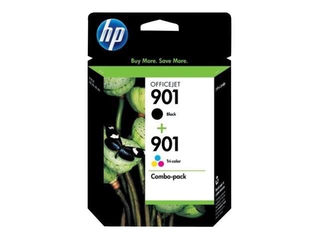 HP 901 (CN069FN) 2-pack Black Tri-color Original Ink Cartridges, CN069FN#140, 10049588, Ink Cartridges & Ink Refill Kits