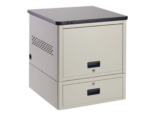 Black Box 10-Unit iPad, Chromebook Tablet, and Laptop Locker - Laminate Top and Drawer, UD10KP-LD
