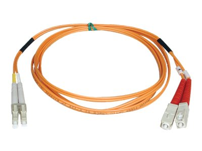 Tripp Lite Fiber Optic Cable, LC-SC, 50 125um, Duplex Multimode, 5m, N516-05M, 454649, Cables