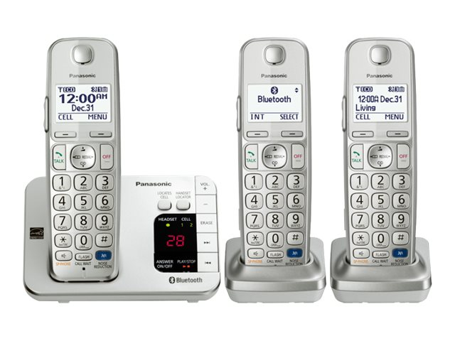 Panasonic Link2Cell Bluetooth Enabled Phone w  Answering Machine & (3) Cordless Handsets, KX-TGE263S