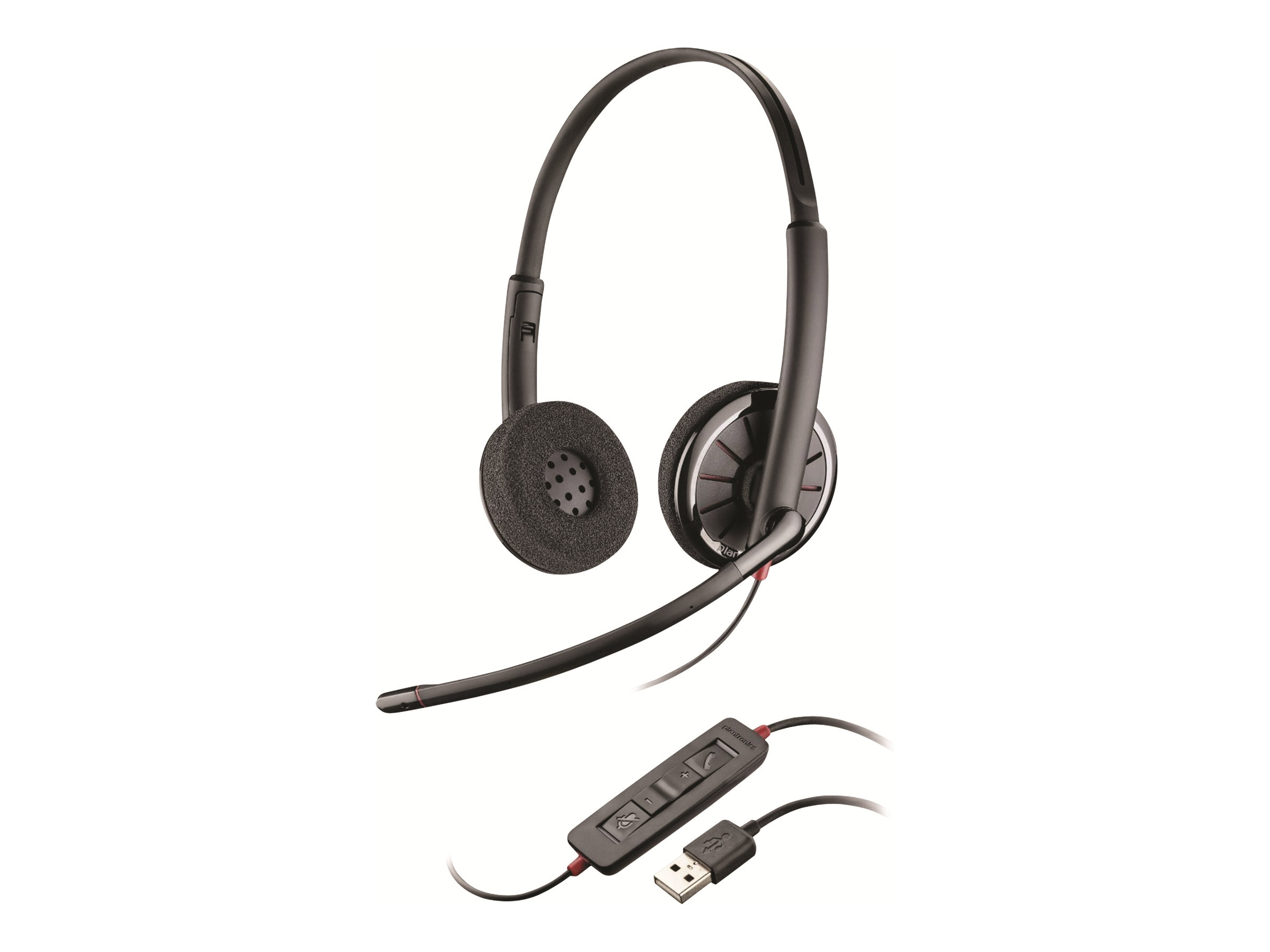 Plantronics BlackWire C320-M Headset w  Leather Ear Cushion, 85619-03, 15512201, Headsets (w/ microphone)