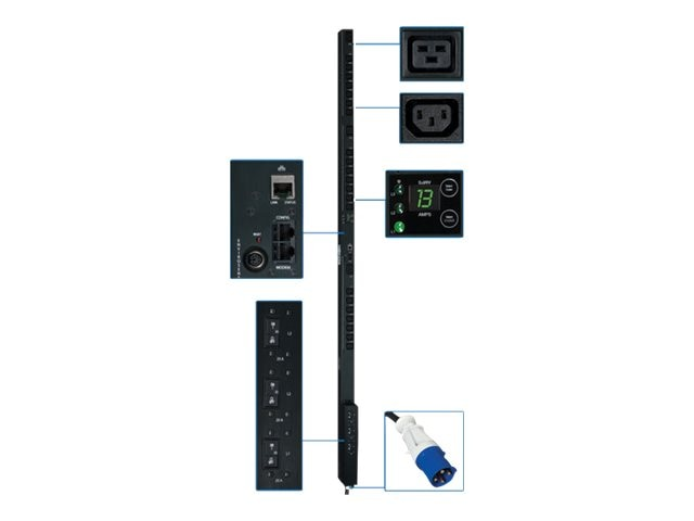 Tripp Lite PDU 3-Phase Switched 208V 8.6kW IEC-309 (21) C13 (3) C19 0U RM, PDU3VSR3G30, 12428371, Power Distribution Units