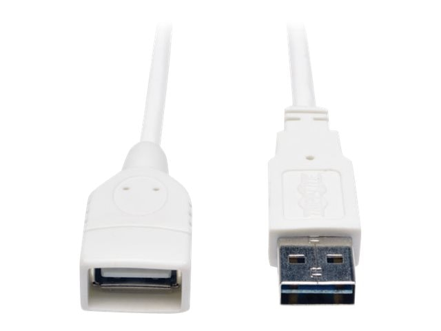 Tripp Lite USB Reversible Type A to A M F Cable, White, 3ft