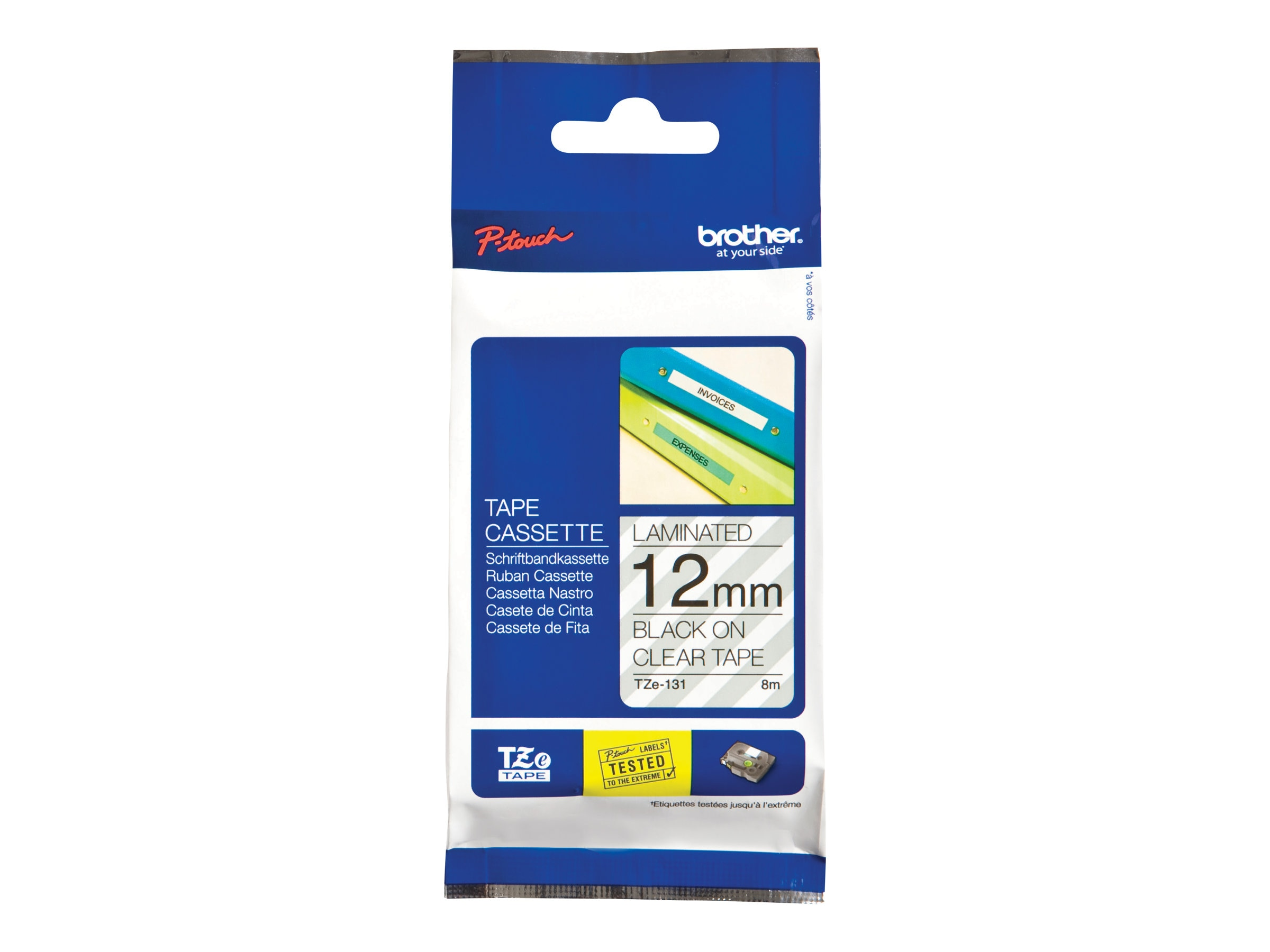 Brother 0.47 x 26.2' TZe131 Black on Clear Tape